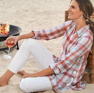 Soft Surroundings Plaid Kona Shores Buttoned Shirt